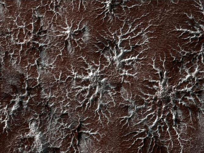 Pająkowe formy na powierzchni Marsa